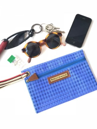 Porta celular bolsinha necessaire azul tela vou ali
