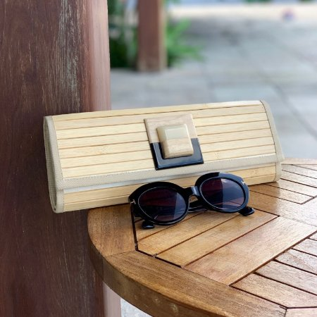 Carteira de madeira botão madriperola