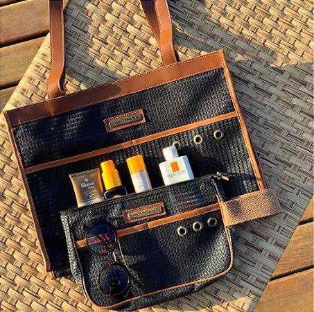 Kit bolsa de praia em tela preta