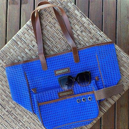 Kit Bolsa de praia em tela azul Quadrada e Necessaire azul