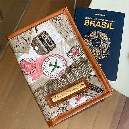 Porta passaporte estampa viagem