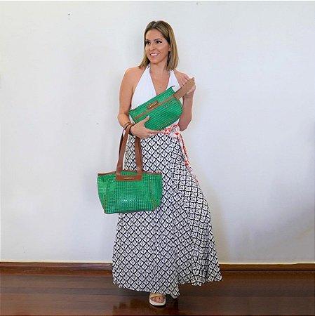 Kit bolsa de praia em tela Vazada e Necessaire tela verde