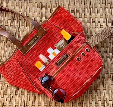 Kit Bolsa de praia em tela vermelha Quadrada e Necessaire vermelha