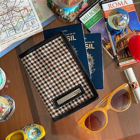 Capa para passaporte estampa xadrez nude