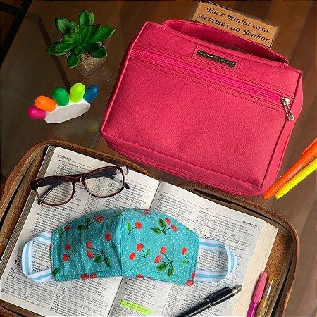 kit Bolsa para bíblia em couro pink e máscaras de tecido dupla face