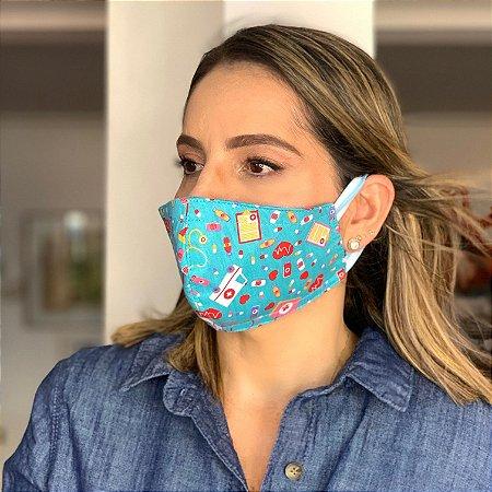 Máscara de Tecido  Dupla Face Estampa Medicina