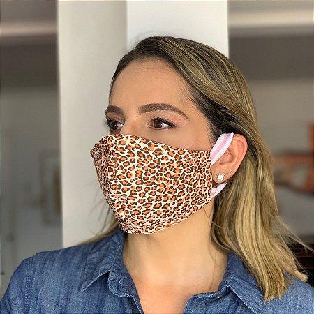 Máscara de Tecido  Dupla Face Estampa Oncinha