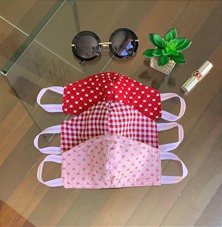 Máscara de Tecido Estampada Dupla Face - Kit com 3 estampas coroinhas