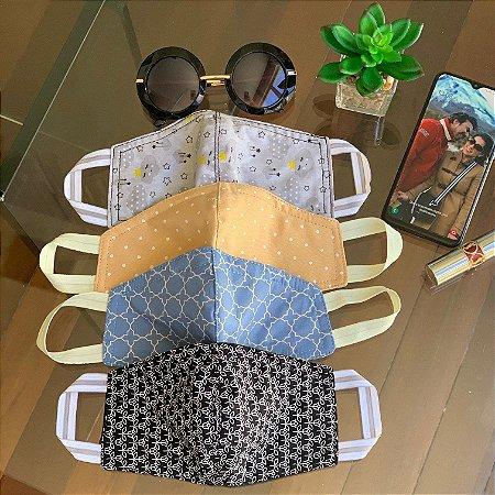 Máscara de Tecido Protetora Estampada Dupla Face - Kit com 4 Máscaras -  inspire-se
