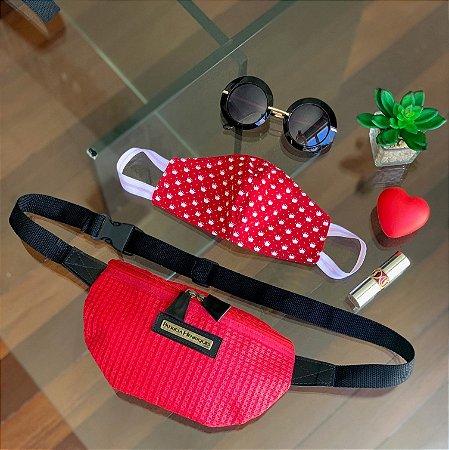 Kit Máscara de Tecido Protetora Estampada Dupla Face e Pochete tela vermelha
