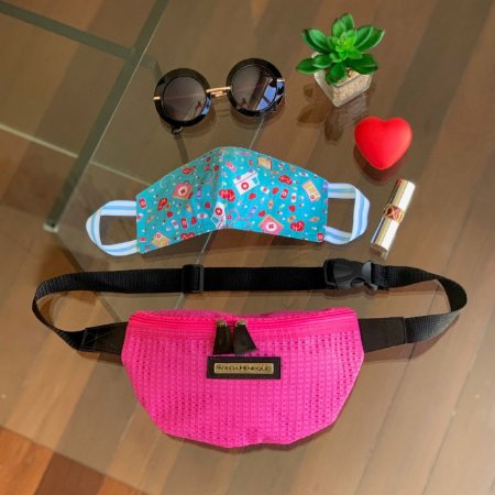 Kit Máscara de Tecido Protetora Estampada Dupla Face e Pochete tela pink