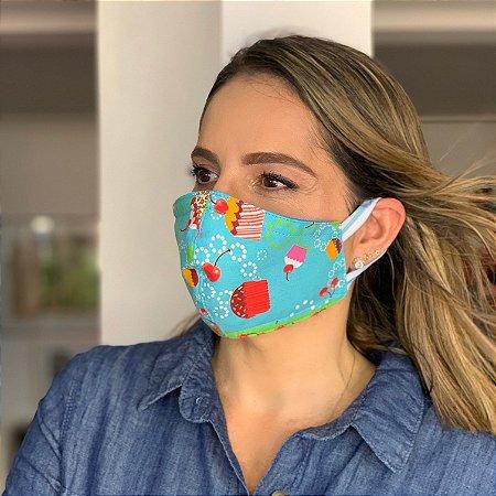 Máscara de Tecido Dupla Face Estampa Sorvete