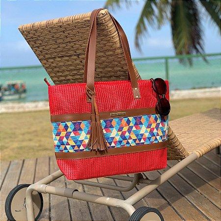 Bolsa de Praia vermelha de Tela Barca  estampa Verão colorido