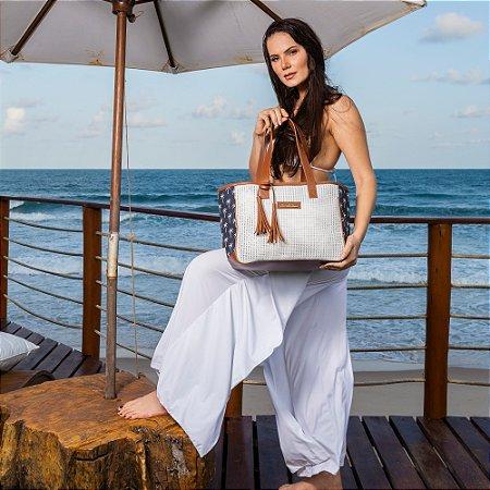 Bolsa de Praia branca de Tela Quadrada estampa COQUEIRO Azul