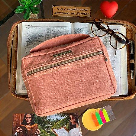 Bolsa para bíblia couro ecológico rosa blush