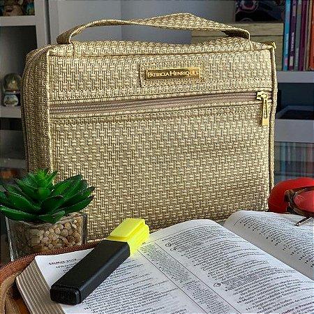 bolsa para bíblia dourada metalizada