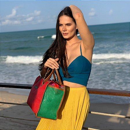 Bolsa de Praia colorida Tela corda