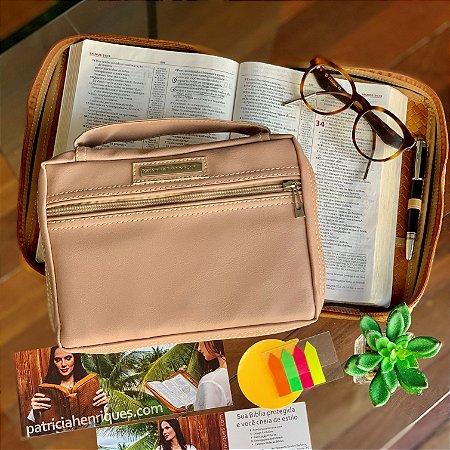 Bolsa para bíblia couro ecológico rosê