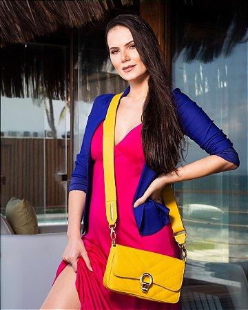 Bolsa de Couro Amarela Elegance