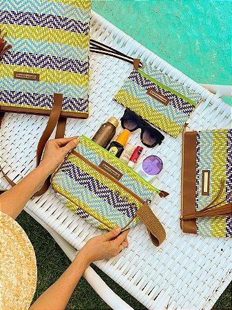 Kit Bolsa de praia em tela de estampa mar