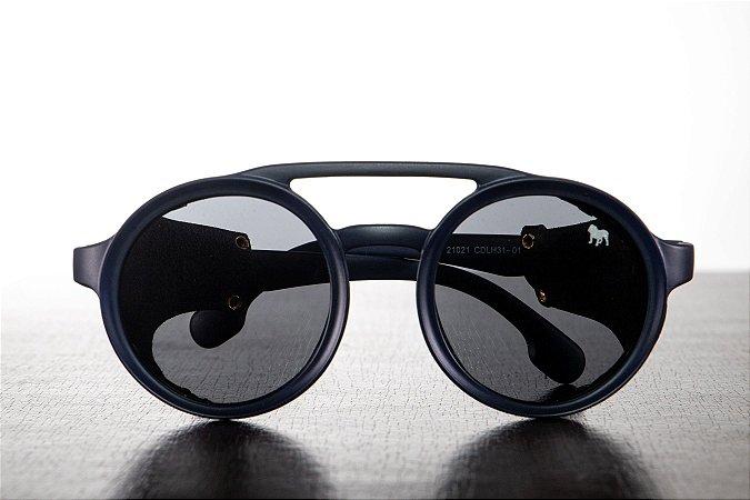Óculos de Sol azul marinho com detalhe em couro