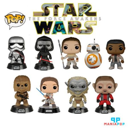 Funko Pop - Star Wars VII - BB-8 ou C-3PO ou Finn ou Rey ou Chewbacca ou Cap Phasma ou Kylo Ren ou Stormtrooper