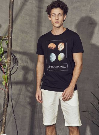 Camiseta Colcci Only In The Dark Masculina Preta