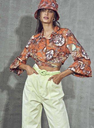 Camisa Cropped Colcci Cocarde Feminina