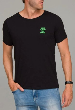 Camiseta Red Feather Silence is Better Masculina Preta