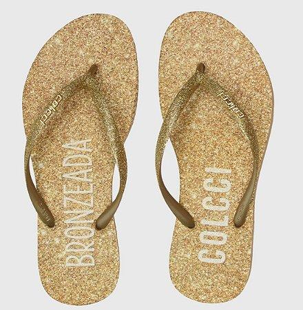 Chinelo Colcci Glitter Feminina Ouro 816 Bronzeada