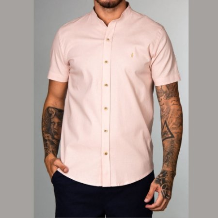 Camisa Red Feather Gola Padre MC Linho Nude