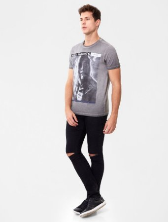 Camiseta Ellus Light Retrocolor Bad Habits Cinza