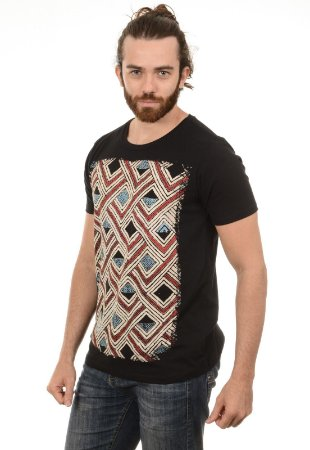 CAMISETA MASCULINA VITRAL ÉTNICO Red Feather