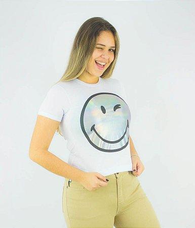 CAMISETA ELLUS SECOND FLOOR HOLOGRAPHIC SMILEY FEMININA