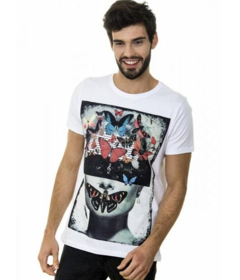 CAMISETA MASCULINA BUTTERFLIES RED FEATHER