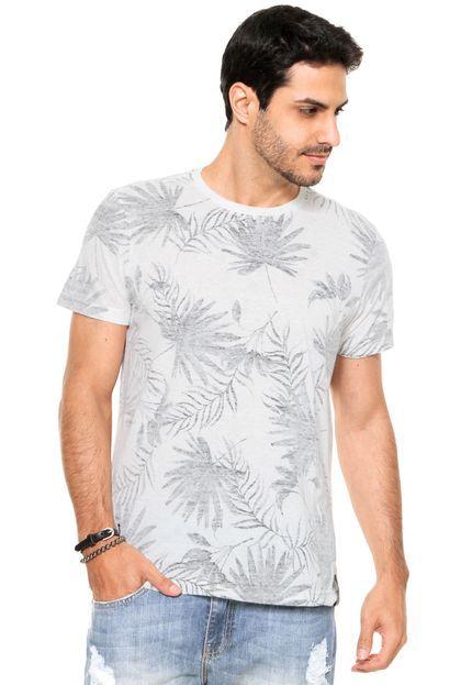 Camiseta Ellus Folhagem Branca/Preta
