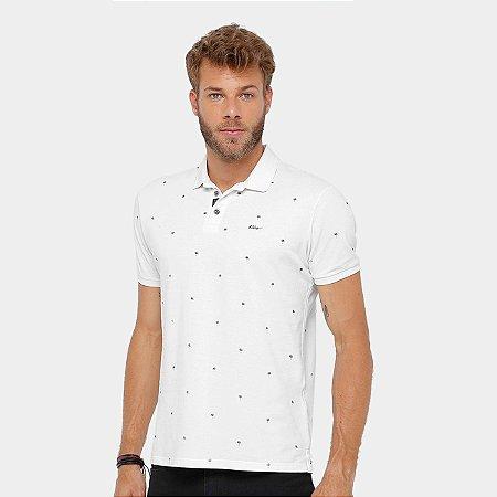 Camisa Polo Ellus Piquet Mini Print Savana Classic Masculina - Off White