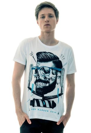 CAMISETA MASCULINA BARBER SHOP RED FEATHER