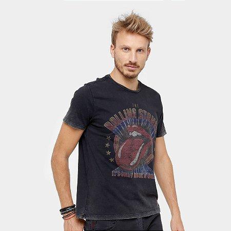 Camiseta Ellus Marmorizada Stones Band Masculina - Preto