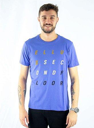 camiseta Ellus 2nd Floor BÁSICA LETTERS AZUL MASCULINA