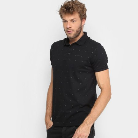 POLO PIQUET ASA ALL OVER ELLUS MASCULINA PRETA