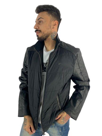 JAQUETA ellus vintage leather denim nylon rider quilte PRETO