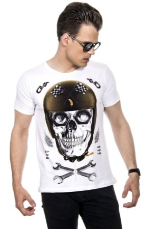 CAMISETA MASCULINA CAVEIRA BIKERS RED FEATHER