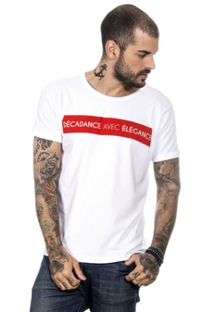 CAMISETA MASCULINA DÉCADANCE AVEC ÉLÉGANCE RED FEATHER