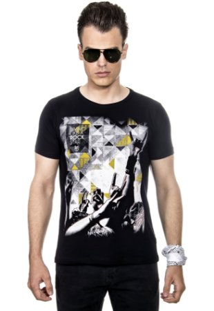 CAMISETA MASCULINA LIVING LIKE A ROCK STAR RED FEATHER