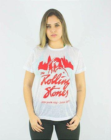 Camiseta Ellus Rolling Stones Branca Burnout Nyc