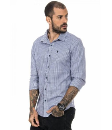 CAMISA SOCIAL RED FEATHER MASCULINA XADREZ FINO