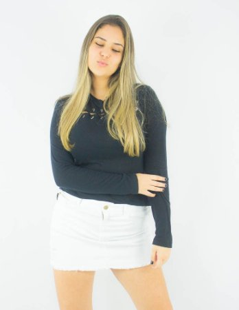 CAMISETA ELLUS FEMININA MANGA LONGA DE MALHA BOTONE ILHOS ML