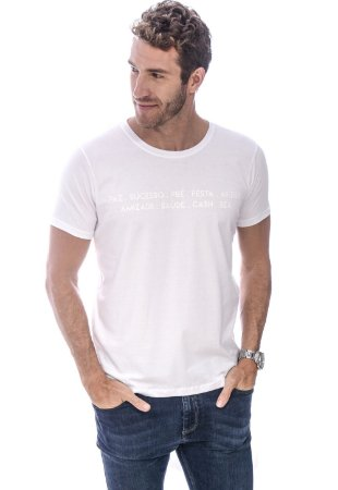 CAMISETA MASCULINA WISHES RED FEATHER BRANCA