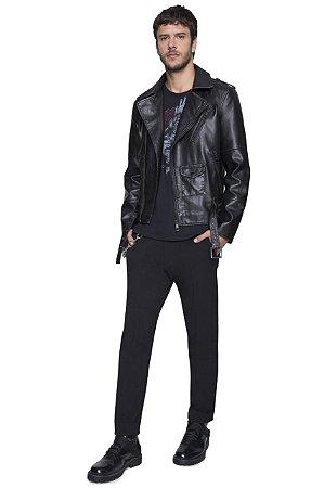 Jaqueta Ellus Leather Wash Perfecto Masculina preta